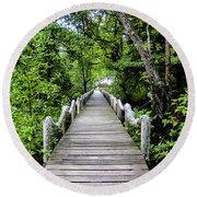 Bridge In Kosrae Round Beach Towel