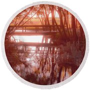 Bridge In Red Round Beach Towel