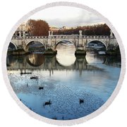 Bridge In Rome Round Beach Towel