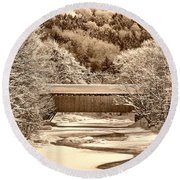 Bridge In Sepia Round Beach Towel