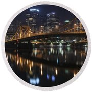 Bridge In The Heart Of Pittsburgh Round Beach Towel