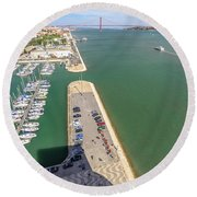 Bridge Of 25 April Panorama Round Beach Towel