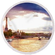 Bridge Of Alexandre IIi And Eiffel At Violet Sunset Round Beach Towel