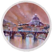 Bridge Of Angels - Rome - Italy Round Beach Towel
