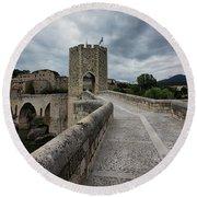 Bridge Of Besalu, Girona Provence, Catalonia, Spain-2 Round Beach Towel