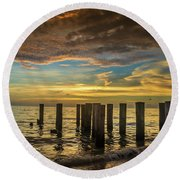 Bridge Of The Past Round Beach Towel