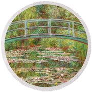Bridge Over A Pond Of Water Lilies Round Beach Towel