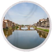 Bridge Over Arno River In Florence Italy Round Beach Towel