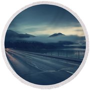 Bridge Over Lake Sylvenstein Round Beach Towel