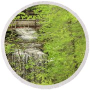 Bridge Over Little Clifty Falls Round Beach Towel