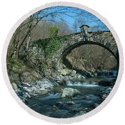 Bridge Over Peaceful Waters - Il Ponte Sul Ciae' Round Beach Towel by Enrico Pelos