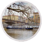 Bridge Over River Vltava Round Beach Towel