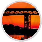 Bridge Over Sunset Round Beach Towel