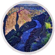 Bridge Over The Crooked River Gorge Round Beach Towel