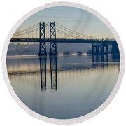 Bridge Over The Mississippi Round Beach Towel