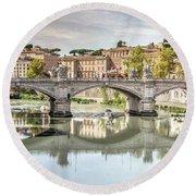 Bridge Over The River Tevere, Rome, Italy Round Beach Towel
