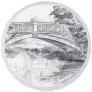 Bridge Over The River White Cart Round Beach Towel