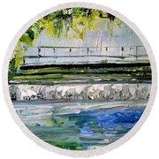 Bridge Over The Weir II Round Beach Towel
