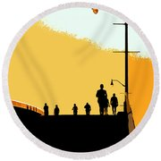 Bridge People Round Beach Towel