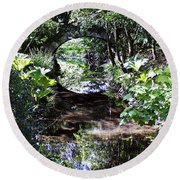 Bridge Reflection At Blarney Caste Ireland Round Beach Towel
