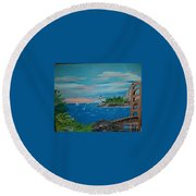 Bridge Scene Round Beach Towel