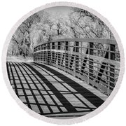 Bridge Shadows Round Beach Towel