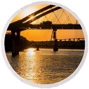 Bridge Sunrise 1 Round Beach Towel