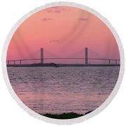 Bridge Sunset Round Beach Towel