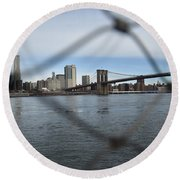Bridge Through The Fence Round Beach Towel