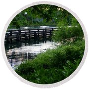 Bridge Through The Trees Round Beach Towel