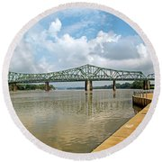 bridge to Belpre, Ohio Round Beach Towel