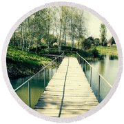 Bridge To Evening Island Round Beach Towel