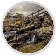 Bridge To Moutains Round Beach Towel