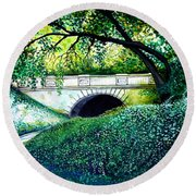 Bridge To New York Round Beach Towel