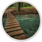 Bridge To Paradise Round Beach Towel