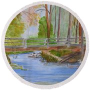 Bridge To Serenity   Smithgall Woods State Park Round Beach Towel