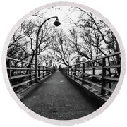 Bridge To The East River Round Beach Towel
