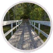 Bridge To Woods 1 Round Beach Towel