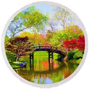 Bridge With Red Bushes In Spring Round Beach Towel
