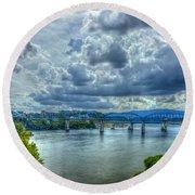 Bridges Of Chattanooga Tennessee Round Beach Towel