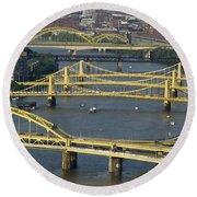 Bridges Of Pittsburgh Round Beach Towel