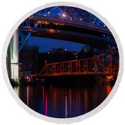 Bridges Red White And Blue Round Beach Towel