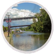 Bridges Spanning The Rondout Round Beach Towel