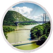 Bridges Through The Valley Round Beach Towel