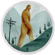 Brief Encounter With The Tall Man Round Beach Towel