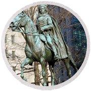 Brigadier General Casimir Pulaski Saved George Washington's Life Round Beach Towel