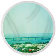 Brigantine Bridge - New Jersey Round Beach Towel