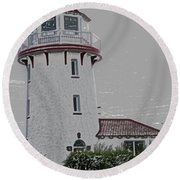 Brigantine Lighthouse Round Beach Towel
