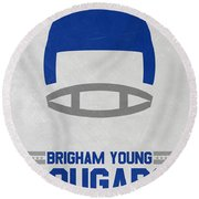 Brigham Young Cougars Vintage Football Art Round Beach Towel