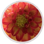 Red And Yellow Flower Bloom Round Beach Towel